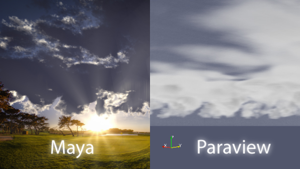 direct comparison Maya vs Paraview