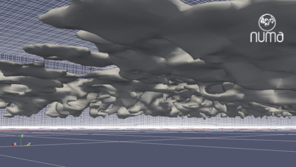 perspective view of isosurface of cloud water content using Paraview
